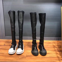 Wholesale Selling Boot For Women Knee - 2017 New Designer Sexy Black Boot For Woman Thigh-High Stretch Western Genuine Leather Mixed Colors Boots Hot Selling