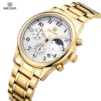 Wholesale Metalic Fashion - 2017 Megir Golden Color Quartz Watch Luxury Fashion Men Clock Metalic Brand Waterproof Calendar Chronograph Relogio Masculino M5007