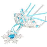 ingrosso blu corona tiaras-Cosplay Crown Princess Set Crystal Crown + Snowflake Magic Wands Bambini Baby Diademi Light Blue Fasce XMAS Accessori Regali PX-C11