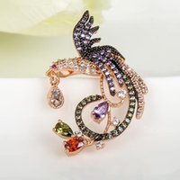 Wholesale Rings For Fingers - ashion Jewelry Rings LUOTEEMI High Quality Statement Rings Micro Paved AAA Zircon Stone Phoenix Flower Wedding Engagement Finger Ring for...