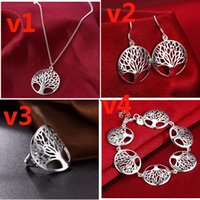 Wholesale Hot Necklaces - Round hollow wish tree pendant life tree necklace speed sell through hot European and American jewelry wholesale 925 silver