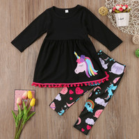 Wholesale Fancy Kids Clothing - Unicorn Kids Baby Girls Outfits Clothes T-shirt Tops Dress +Long Pants 2PCS Set tassels colorful fancy kid clothing set