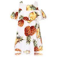 Wholesale Kids Princess Dresses Wholesale - Toddler Girl Dresses Printed Children Pineapple Dress Kids Clothing Robe Fille Strapless Princess Dress for Girls Clothes