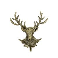 Wholesale deer head brooch - Trendy Unisex Animal Christmas Xmas Vintage Bronze Deer Antlers Head Pin Brooch Men Women Animal Brooches Pins
