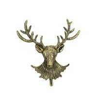 Trendy Unisexe Animal Christmas Xmas Vintage Bronze Deer Antlers Head Pin broche Hommes Femmes Animal Broches Pins