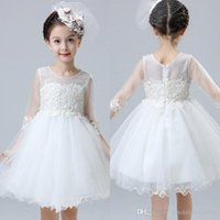 Wholesale Cheap Easter Clothes - Princess Kids Summer Girl Dresses Lace Appliques Flower Girl Dresses Kids Birthday Party Dresses With Sash Girls Clothing Cheap MC0818