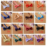 Wholesale Tie Collar For Girls - 26 color baby kids Solid color bow tie Collar leisure Bow 10*4.5cm Polyester yarn Kids for 1-10T Boys Girls