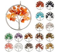 Asian & East Indian order trees - Europe fashion popular element necklace made to order new natural gravel tree of life Colorful natural Shi Pi rope rich tree necklace
