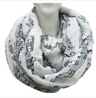 Wholesale Navy Blue Cotton Scarf - Free Shipping 2016 New Fashion White Burgundy Navy Music Note Sheet Music Piano Notes Script Print Scarves Infinity Scarf HJIA1177