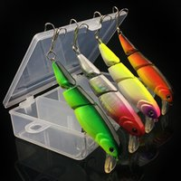 Wholesale Plastic Fishing Tackle Box - 4 pcs 1 box 10.5 cm 9.5 g Section fish Hard plastic lures fishing hooks 3D Minnow Fishing baits 6# Hook Artificial Pesca Tackle Accessories
