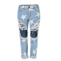 pantalons modernes femmes de mode achat en gros de-Vente en gros- Hot Modern Fashion Women Jeans 2017 casual Hole Jeans Stars Impression Straight Denim Pantalon rasé loose Boyfriend Jeans For Lady