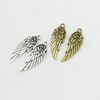 Wholesale Sweeter Wings - Sweet Bell Wholesale (Min order 30pieces) 11*31mm two color Alloy Rose Angel Wings Jewelry Pendants Charm D0441