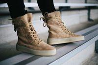 botas de renda preta até homens venda por atacado-Chaussure Homme Novo Superstar Designer Kanye West Sapatos Homens Militares Crepe Botas Preto Marrom Tático Plana Bota Lace Up Tornozelo Outono Botas