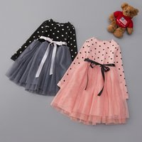 Wholesale Dress Sweet Lace Dot - 2017 Spring sweet Dots long sleeve Girls Dresses Princess Tutu lace Dress Fashion Tulle Kids Childrens Party Pageant Dresses Lovekiss A81