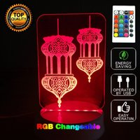 Wholesale Study Quote - Islamic Calligraphy Lantern Acrylic Desk Lamps Arabic Quotes God Bless Light 3D Night Light with Remote Controller for Study Light Religious