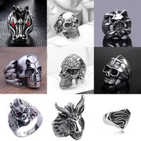 Wholesale Wholesale Biker Rings Free Shipping - Fashion New Style Hot Selling popular Cool Men's Stainless Steel Fashion Gothic Punk Skull Head Biker Finger Rings Jewelry - Free Shipping