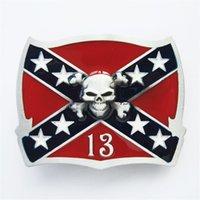 Wholesale Confederate Flag Stars - New Vintage Skull Cross Star Confederate Rebel Flag Belt Buckle Gurtelschnalle Boucle de ceinture BUCKLE-T151 Brand New