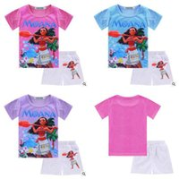 Wholesale Cartoon Tees For Kids - Cartoon Moana Girls Outfits 2017 Summer Kids Clothing Set Cotton T-shirt Shorts For Kids Girls Costume Cotton Tees Children Tops For Kids