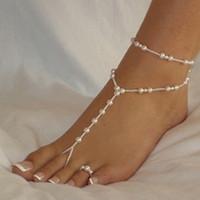 ancla de oro infinito al por mayor-Moda perla tobillera mujeres tobillo pulsera playa imitación perla sandalias descalzo tobillera para mujeres joyería de pie de cadena