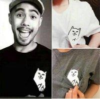 Wholesale Slave Clothing - Man hip-hop master and Slave Slave skateboard Harajuku ripndip pocket T-shirt finger cat head Kanye clothing