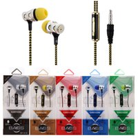 Wholesale Nylon Headphones - Earphones Braided Headset Headphone Nylon with Mic Earbuds Universal 3.5mm in ear Plating Earphones For Mobile Phone HTC Huawei