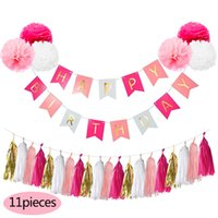 Wholesale Nicro M DIY Birthday Banner Set CM PomPom Tissue Paper Hanging First Birthday Party Decoration Set Party Event Supplies