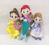 Wholesale Little Mermaid Dolls - Cinderella Plush Toy Princess Dolls The Little Mermaid Stuffed Doll Soft 7 style Baby Toy Gift size 20-26cm