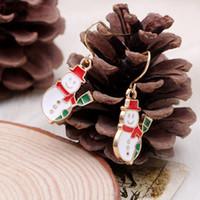 Wholesale Snowman Bells - 50pr lot New Fashion Women Santa Claus Snowman Bell Christmas Jewelry Christmas Earring For Women best Gifts HYEX1385A