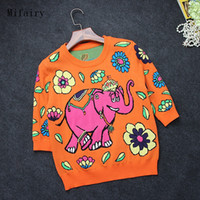 suéteres de elefantes al por mayor-Envío gratis 2017 amarillo o cuello medias mangas de alta calidad corta mujer suéter elefante imprimir suéter mujeres s061702