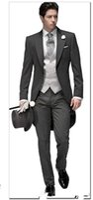 Wholesale Tailored Jackets - Tailored Elegant Bridegrom Gray morning suit Wedding tuxedo for men groomwear suits iset(jacket+pants+tie+vest)