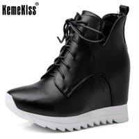 Hot Sale Ladies Real Leather Wedges Botas Altura Aumentando Thick Platform Shoes Mulheres Side Zipper Lace Up Calçado Tamanho 31-40