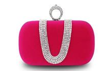 hochzeit geldbörsen großhandel-Meistverkaufte Mode Weibliche Diamant U Form Diamant Faux Wildleder Ring Samt Abendtasche Luxus Finger Clutch Geldbörse Hochzeit Mit Kette