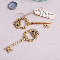Wholesale Key Box Wedding - Key to My Heart Vintage Key Bottle Opener Gold Wedding Favors and gifts Party Guests gift box Presents