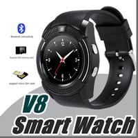 ich sehe smartwatch an großhandel-DHL V8 Smart Watch Bluetooth Uhren Android mit 0.3M Kamera MTK6261D DZ09 GT08 Smartwatch für Android-Handy mit Retail-Paket I-BS