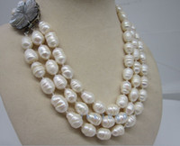 """Wholesale Necklace Rows White Pearl - 3 row 12-14mm natural south sea white baroque pearl necklace 17-19"""" charming @"""