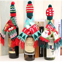 Wholesale Patterned Table Cloth - Christmas wine bottle bag set red Santa Claus scarf hat pattern bottle cover cap table dinner decoration for New Year Xmas dinner party