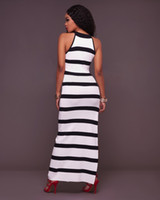 Wholesale Long Sleeveless Stripped Dresses - 2017 New Sexy Women Classic Strips Bodycon white Dress Casual Summer Tank Vest Maxi Long Dress Sundress Party Dresses High Split maxi dress