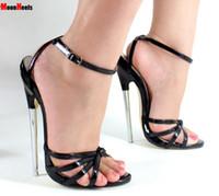 Wholesale High Heel 18cm - Free Ship Fetish GiaroSlick New 2018 Fashion Ankle Strap Peep Toe Women Sandals Metal Thin Heel High-Heeled Shoes unisex Summer heels 18cm