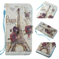 Wholesale Iphone 5s Cases Draw - For Iphone x 3D Drawing Printing Flower Flip Wallet Leather Cover Case for Iphone 5s 6plus 7 7plus 8 8plus x Samsung S6 S7 edge S8 S8 plus