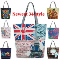 Wholesale Owl Print Handbags - Women Embroidered Floral Handbag Night Owl Printed Shoulder Bags Canvas Birds Lady Shopping Bag Totes Female Casual Travel Beach Bag WX-B25