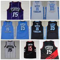 Wholesale North Men - 2017 Throwback 15 Vince Carter Basketball Jerseys North Carolina Tar Heels College Vince Carter Jersey Blue Black White Purple Hot Sale