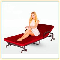 Wholesale Hotel Hospital Folding Bed cm Red Color Steel Structure Anti Dust Fabric Cover Anti Slippery Pad Manuel Positon Adjusting SR F01B NEW