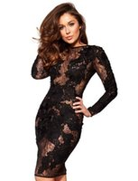 Wholesale Women Daily Work Dress - Stylish Light Transparent Long Sleeve Floral Bandage Bodycon Women Sexy Solid Lace Party Dresses Lady Daily Casual Work Office Dress W850328
