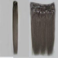 grampo de extensão de cabelo loiro ins venda por atacado-Extensões de cabelo humano loiro Grampo de extensões de cabelo cinza em 7pcs 100g grampo de cabelo virgem brasileiro ins direto