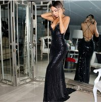 Wholesale Cross Back Black Dress - Sexy Glitz Black Sequined Mermaid Formal Evening Dresses 2017 Sexy Criss Cross Back Chapel Train Cheap Lace Prom Party Occasion Gowns Cheap