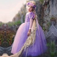 Wholesale Purple Hair Jewels - Long Hair princess Children Dress Up Halloween Christmas Girls Cosplay Clothes Tulle Ball Gown Purple Custom Made High Quality