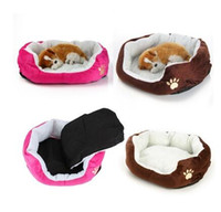Wholesale Pet Dog Puppy Cat Washable Soft Fleece Kennel Cozy Bed Comfy Nest