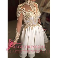 Wholesale Short Pink Night Dresses - Little White Party Dresses 2016 Ball Gown High neck Prom Homecoming Dress Illusion Bodice Long Sleeves Gold Lace Cocktail Night Club