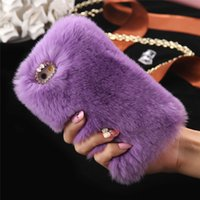 Wholesale Rabbit Fur Iphone Case - Rabbit Hair Soft Touch Fur Case Bling Diamond Plush Furry Cover Women Girl Lady Cover for Apple iPhone 7 PLUS 6 6S 5 5s