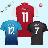 Wholesale Men Blouses - 2017 Thai quality soccer jersey shirt wholesale 17-18 red Alexis Lacazette blouse RAMSEY Xhaka Ozil shirt retail